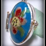 RESERVED for Shelle - Enameled Floral Locket