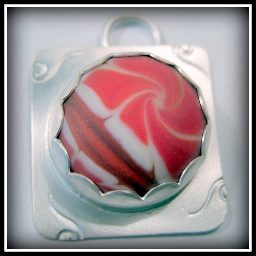 Pendant - Red and White Swirl Camellia Artisan Glass