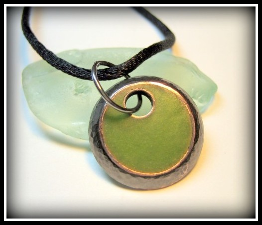 RESERVED Pendant - Lime Green Resin Textured Oxidized Copper