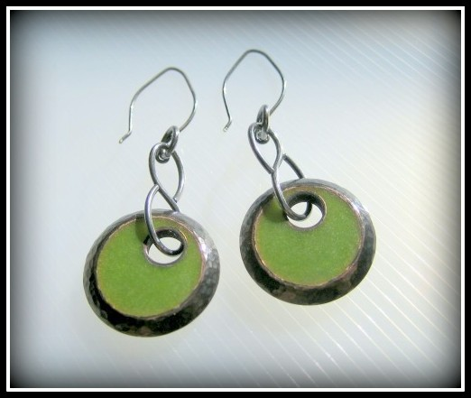 RESERVED Earrings - Lime Green Resin Textured Oxidized Copper