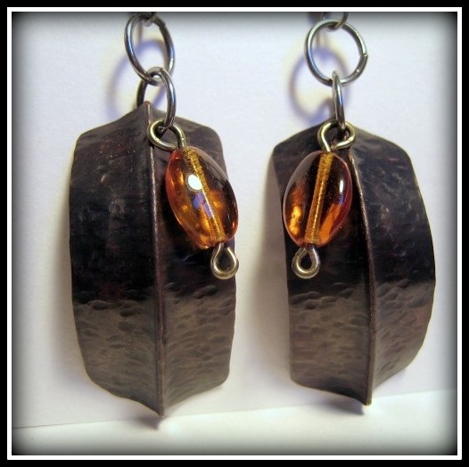 Earrings - Dark Copper Fold Formed Amber Bead