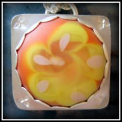 Pendant - Orange and Lemon Yellow Primrose Artisan Glass Flower