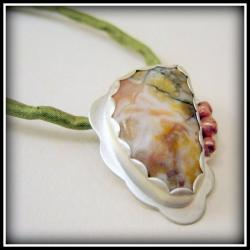 Pendant - Pink Green Jasper Sterling Copper