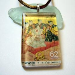 Pendant - Japanese Vintage Stamp, Glass Tile Traditional Noblemen