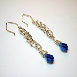 Earrings - Fine Silver Loop Chain Sapphire Blue Swarovski