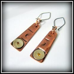 Earrings - Textured Copper, Sterling, Golden Topaz